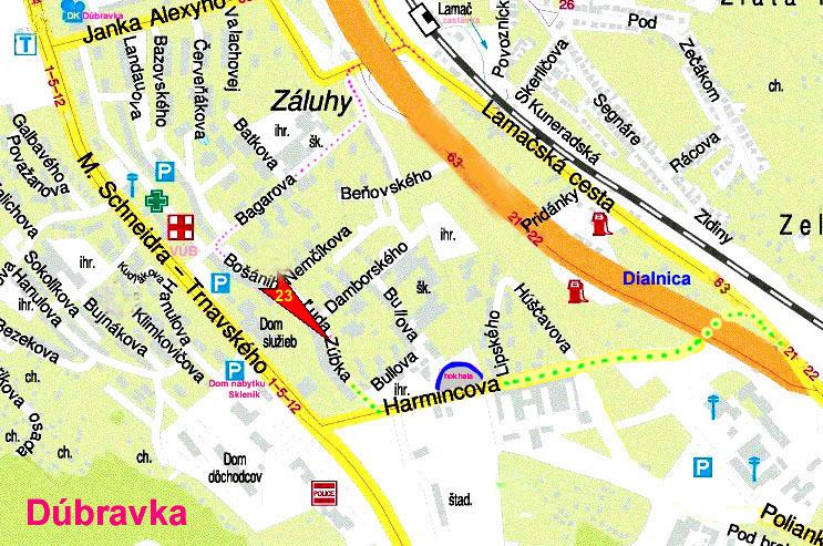 Mapa Dubravky - Kliknutím ZVACSIT!
